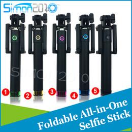 Acheter en ligne Meilleur stick bluetooth selfie-Folding bâton selfie poche Bluetooth intégré autocollantes monopodes sans fil retardateur portable meilleure qualité avec boîte d'emballage de vente au détail