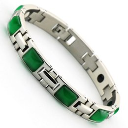 Wholesale 19CM MMgreen cat eye natural stone health care magnet germanium ion infrared stainless steel bracelets for women