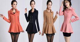 Elegant 2014 New Plus Size Winter Coats Korean Women Ladies Tunic Peplum Wool Coat Slim Woolen Overcoat Size S-2XL
