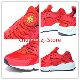 Wholesale 2016 Men Women Sneaker AIR HUARACHE classic red and white reproduction Breathable Running Shoes Euro