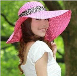 Wholesale-Leopard Bowknot Bucket Sun Floppy Bowler Wide Brim Foldable Hat Cap for Woman