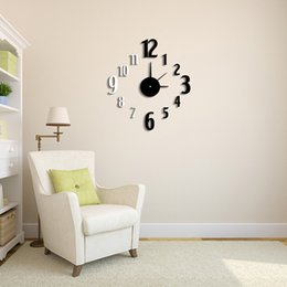 Wholesale Digit Number Clocks Classic Contrast Color DIY Clock Mirror Effect Wall Clock Removable Acrylic Glass Decal Set Home Decor H15395