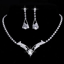 Fashion Bridesmaid Bridal Wedding Jewelry Sets Rhinestone Crystal Jewelry Set Choker Necklace Earrings Free Shipping