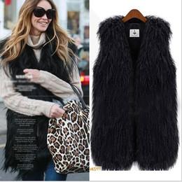 Free Shipping New Fashion Women's Faux Fur Vest Warm Tassel Long Vests Coat Tank Sleeveless V-neck Outwear Fur Waistcoat Black Beige