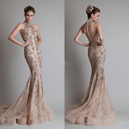 2017 Champagne Evening Dresses High Neck Mermaid Court Train Zuhair Murad Vestidos With Golden Appliques Back Covered Buttons Prom Dresses