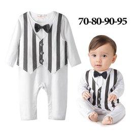 Wholesale Baby Romper Sew Tie Gentleman Boy Long Sleeve Black White Stripe One Piece Romper Clothing M