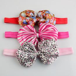 "Wholesale 160pcs lot 4"" Flower Print Hair Bows Headbands Satin Bow Top Knot Headband Baby Photography Props Free Shipping HA0315"