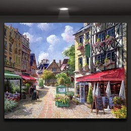 Europe Quiet Afternoon Town's Street Oil Painting Canvas Prints Mural Art Drawing Home Office Hotel Wall Decor