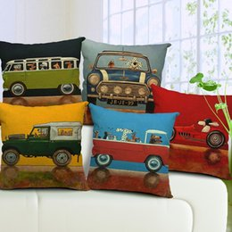 17 Styles Dog Drivers Cushions Pillows Covers Dog Driving Truck Bus Cars Pillow Case Sofa Decorative Linen Cotton Cushion Cover Present