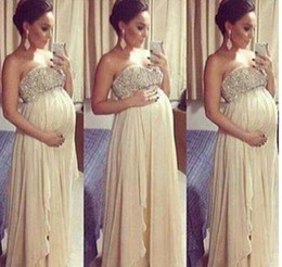 Gorgeous Crystal Maternity Prom Dresses Strapless Chiffon Evening Gowns Pregant Women Outfits Party Dress Beaded Top Vestidos Custom Made