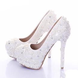 Perles de diamant hauts talons à vendre-2015 Nouveau Diamant Mariage Chaussures De Mariage Couleur Perle Nuptiale Chaussures De Mariage Belle Cristal Talon Haut Parti Chaussures Prom Chaussures