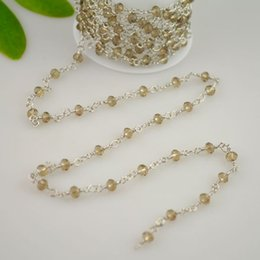 Free Shipping! 4MM Rhodium Plated Wire Wrapped Beaded Rosary Chains in Grey Faceted Crystal Beads Jewelry 16.4Feet