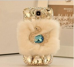 Elegant swan diamond design rabbit fur hair cell phone cases soft cover for iphone 6 6s 6plus 6s 6splus 5 5s 7 7plus