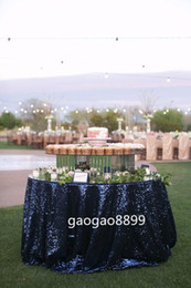 Wholesale Custom Size quot Great Gatsby quot Sequin Table Cloth Hot sale fancy wedding round navy sequin table cloth