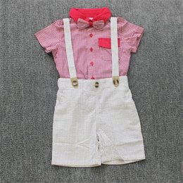 Wholesale Cool Shirts Collar Style - New Children Brand Sets Boy's suit summer 2pcs short sleeve Cloths Set T shirt+Suspender Jeans Kids Summer Cool Outfits With Bowtie