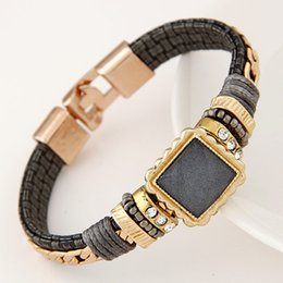 New Magnet Buckle Leather Bracelet 2015 Hot Fashion Elegant Rhinestone Bracelets & Bangles For Women Fashion Brand Jewelry
