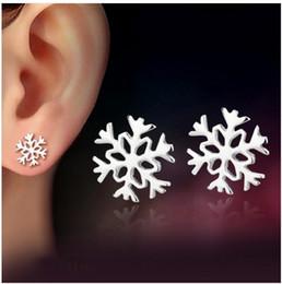 925 sterling silver snowflake earrings Korean love classic winter girlfriend birthday gift Christmas New Year's Day