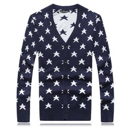 Wholesale- New Arrival Sweater Men V-Neck Long Sleeve Men's Sweater Button Fly Cardigan Men Star Pattern Casual Mens Sweaters