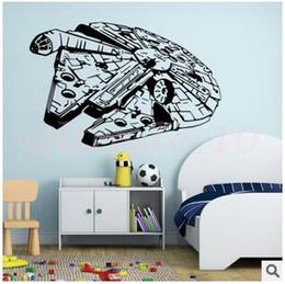 Wholesale 20pcs CCA2896 Star Wars D mur de mur créatif millénaire Falcon Chambre à coucher Salon TV Canapé Bricolage Décoration Fond d écran Papier peint Kids Room
