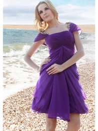 Wholesale 2016 Summer Off The Shoulder Cap Sleeves With Gold Sequins Ruched Cheap Purple Casual Party Dresses Short For Beach Australia