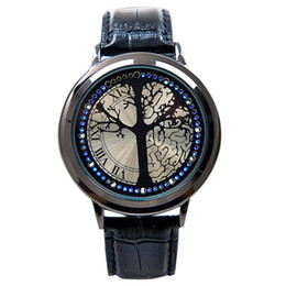 Stylish leather belt touch screen LED watch women   men with tree dial blue light show time