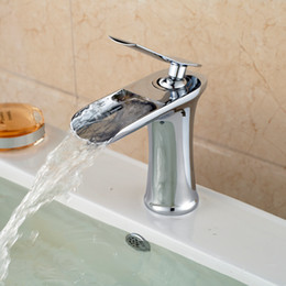 Chrome Polished New Brass Widespread Waterfall Countertop Sink Faucet Unique Design