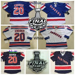 2014 Stanley Cup New York Rangers #20 Chris Kreider Jersey Home Blue Road White Alternate Navy Blue 85th Stitched Hockey Jersey