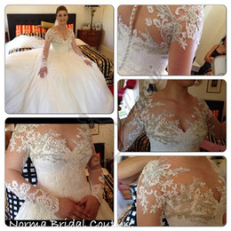 New Sweetheart Lace Wedding Dresses with Long Sleeve Bridal Gown With Button Party Gowns 2019 Spring Vestidos de Noiva