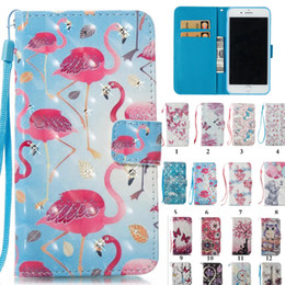 3D Diamond Unicorn Horse Flamingo Butterfly Flowers PU Leather Wallet Cover Case Card Slot For iPhone 6 7 plus X 8 8 Plus Samsung S8 S9
