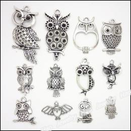 Mixed charm antique silver plated alloy pendants Owl fit bracelet necklace DIY jewelry 48 pcs lot