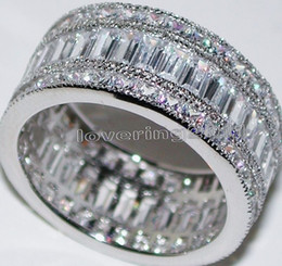 Wholesale New nice Full Princess cut white Topaz Diamonique Simulated Diamond KT White Gold GF Wedding Band Ring Sz
