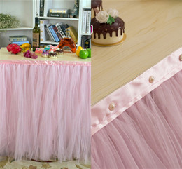 Wholesale 2015 Pink Pearl Tulle Table Skirt Tutu Table Decoration for Weddings White Red Birthdays Baby Bridal Showers Parties Table Skirt WCS020
