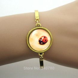 Wholesale personalized metal bracelet jewelry Ladybug Picture In Glass Cabochon Dome Gold plated Charm bracelet for women GL040