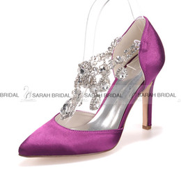 Crystal Satin White Blue Ivory Purple Champagne Wedding Dress Shoes 10 CM Pointed Toe Women Evening Party Prom Bridal Accessories 2015 Cheap
