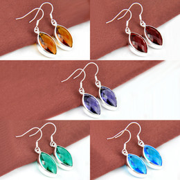 Wholesale Mix Color Pairs Classic Garnet Brazil Citrine Topaz Amethyst Gemstone Sterling Silver Plated Drop Earrings ce0448