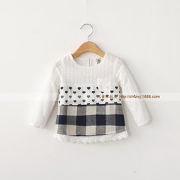 Wholesale 2015 Autumn New Arrival Korean Style Kids Girl Baby Unlined Upper Garment Love Grid Lace Long Sleeved Round Collar Shirt The Doll MZ04