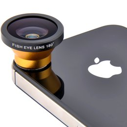 Wholesale-Yellow Magnetic Macro Wide Angle Lens Camera Kits for iPhone 5 iPhone 4 4S (Wide Angle + Yellow Macro Lens)