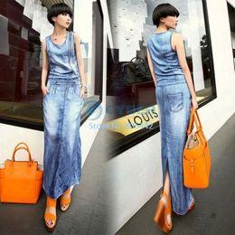 New 2014 Women Summer Dress Vintage Women Slim Denim Jean Pocket Back Split Sleeveless Maxi Dress Casual Dress b7 SV005690