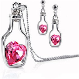 Wholesale Austrian Crystal Wishing Bottle Pendant Necklace Earring Love Heart Forever Jewelry Set Women Romantic Valentine Gift DCBJ549