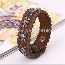 Wholesale Vintage Antique SIlver Plated Coffee Black Skull Shape Lether Woven Bangles For Men Handmade Jewelry