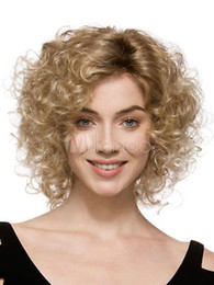 Blonde Full-Volume Curls Heat-resistant Fiber Medium Wig for Woman 06