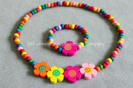 Wholesale 24sets girls colored wooden bead necklace bracelet jewellery set MIXED CUTE WOOD BEADS NECKLACE BRACELET SET New Baby Kids Gifts
