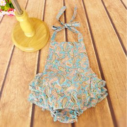 Baby and newborn Ruffle Jumpsuit in blue,Size 0-3T Baby Bubble Romper ,Blue Paisley Romper ,Newborn photography
