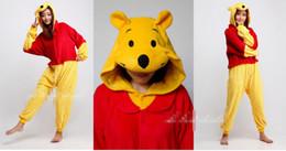 Wholesale Winnie The Pooh Kigurumi Pajamas Animal Cosplay Wear Outfit Halloween Costume Adult Garment Cartoon Jumpsuits Unisex Animal Sleepwear