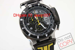 hOT Sale Men's T-Race Black Dial Japan Quartz Working Chrono Yellow Rubber strap Wrist Mens Watch Watches