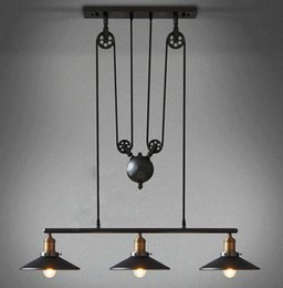 Wholesale Vintage RH Loft Industrial LED American Country Pulley iron Pendant Lights Adjustable Wire Lamps Retractable Bar Decoration Lighting