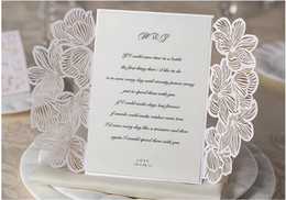 Wholesale Wedding Invitations White Hollow Laser Cut Greeting Cards Free Design and printing Via DHL Shipping Free