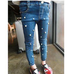Wholesale 2016 jeans pearls tights leggings children girls jeans pants baby kids pencil Feet Skinny jean pant trousers girl A6