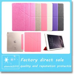 Wholesale New Folding Stand Transformers Flip Silk leather Case Magnetic Smart Cover with Automatic Sleep Wake up for iPad Mini Air Air2