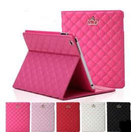 Air en cuir libre en Ligne-Couverture élégante de support de cas de cuir de couronne de luxe pour l'iPad 2/3/4 iPad 5 / air Mini1 / 2/3 MOQ1PC d'iPad d'air Livraison gratuite